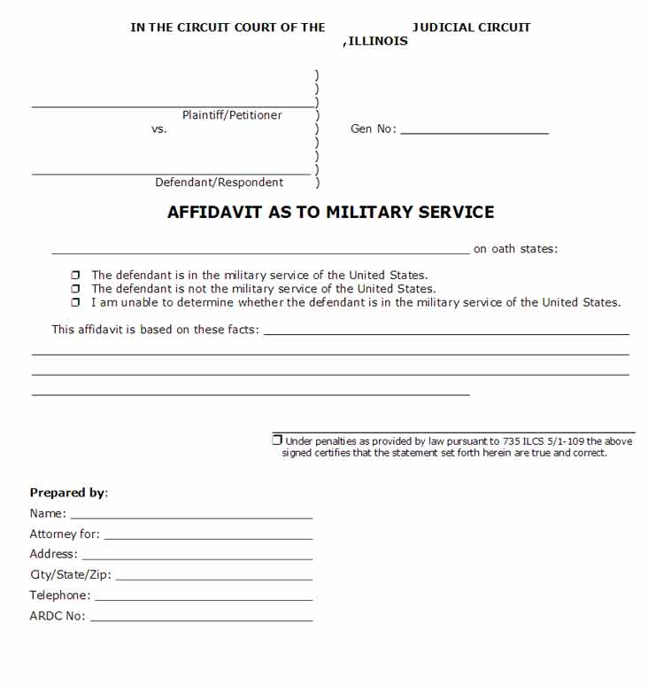 Free Affidavit as to Military Service - WikiForm | WikiForm