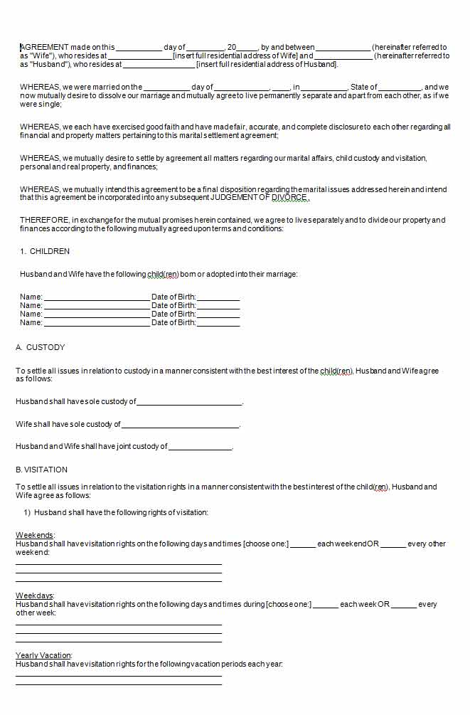 Free Michigan Marital Settlement Agreement Form - Wikiform | Wikiform