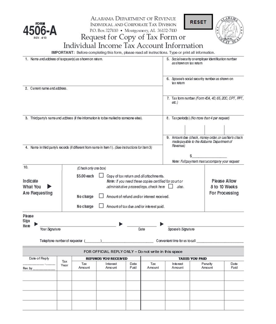 Free Alabama Form 4506A: Request for Copy of Tax Form or Individual ...