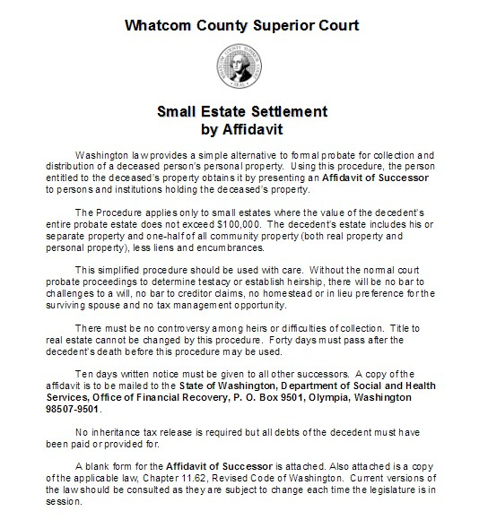 Small Estate Settlement By Affidavit  Wikiform