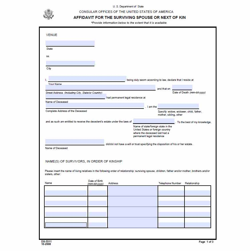Free affidavit of surviving spouse or next of kin wikiform for Next of kin form template