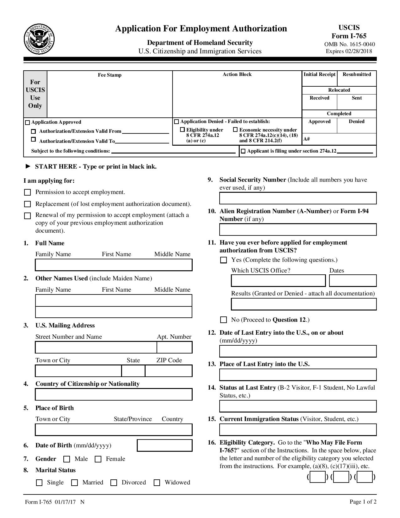 Free 1 765 application for employment authorization wikiform 1 765 application for employment authorization form preview falaconquin