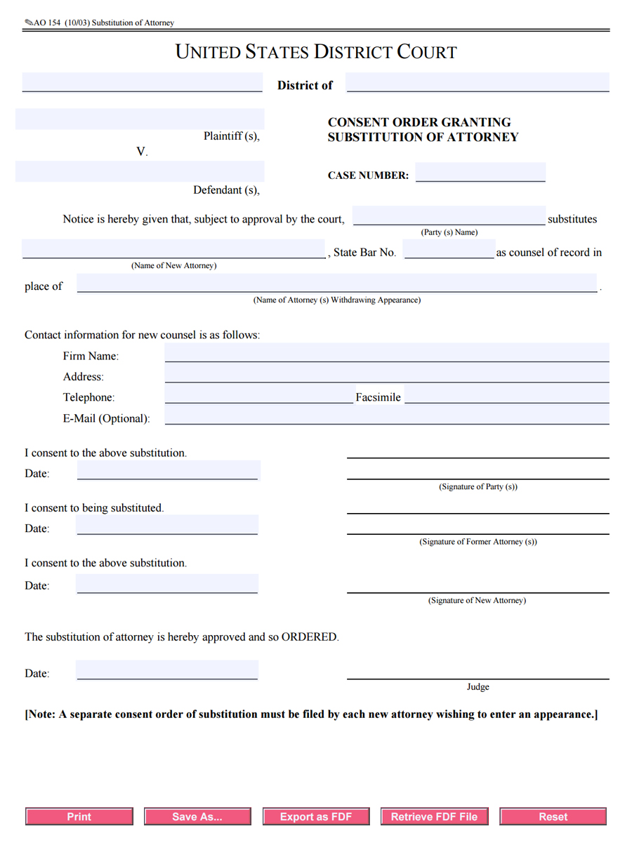 Free AO 154 Consent Order Granting Substitution of Attorney – Consent Order Form