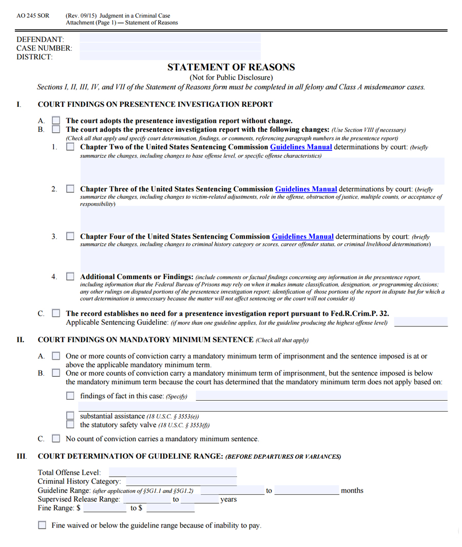 Case Statement Case Statement: Free AO 245SOR Judgment In A Criminal Case (Statement Of