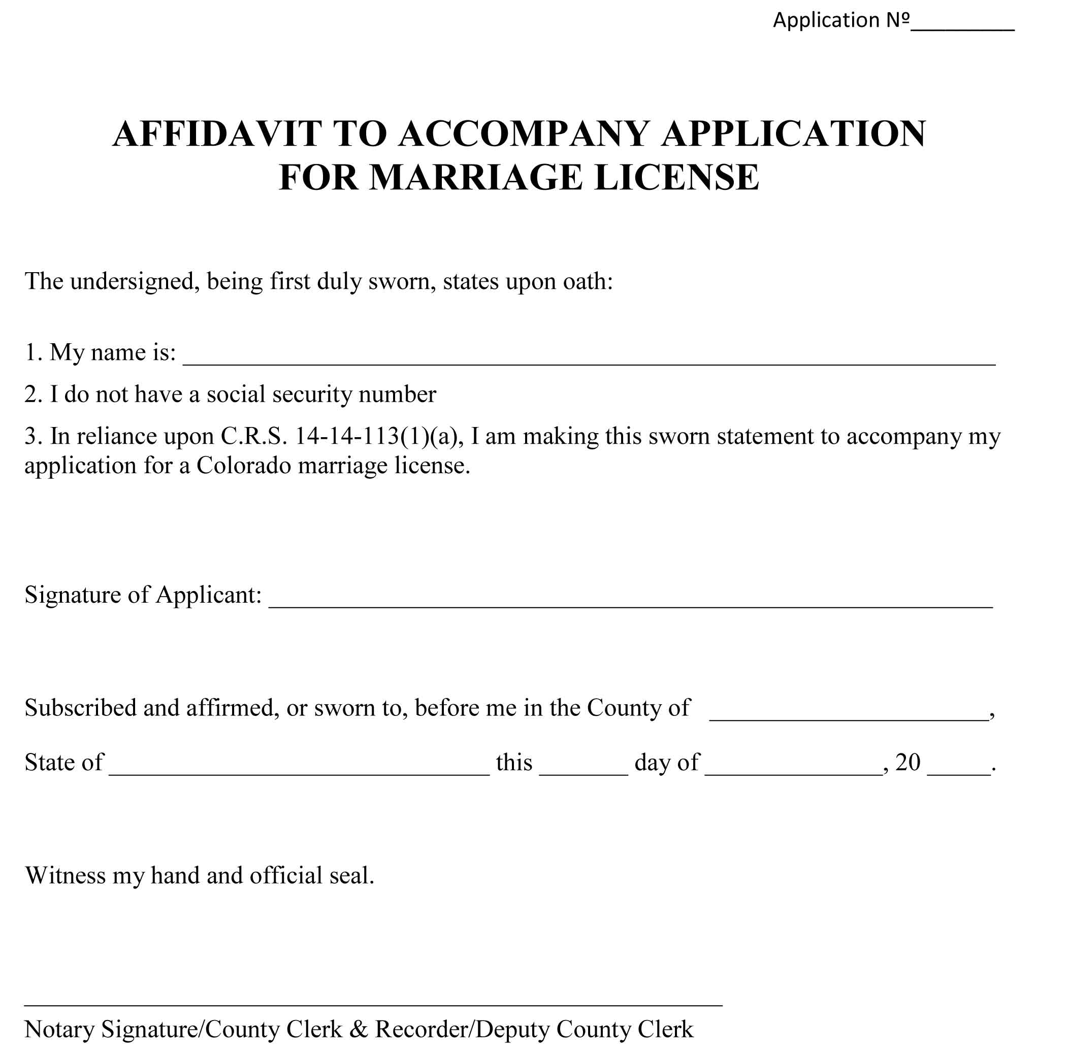 Affidavit To Accompany Application For Marriage License Form Preview  Affidavit Of Sworn Statement