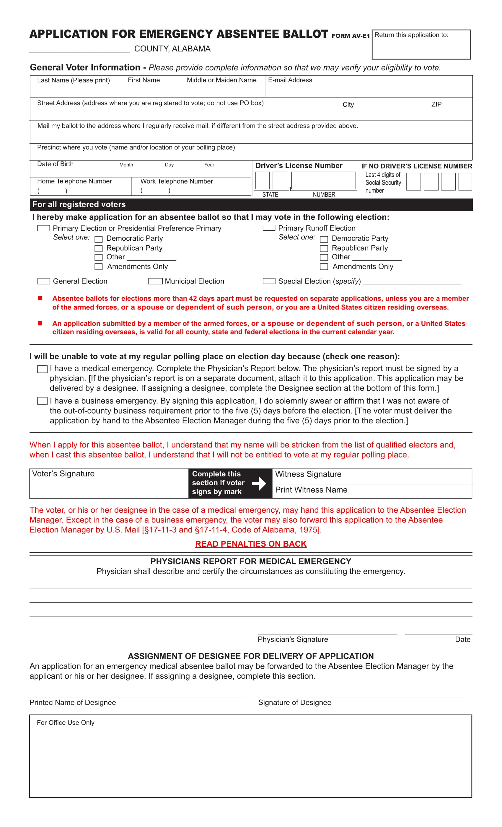Free Alabama Application for Emergency Absentee Ballot - WikiForm ...