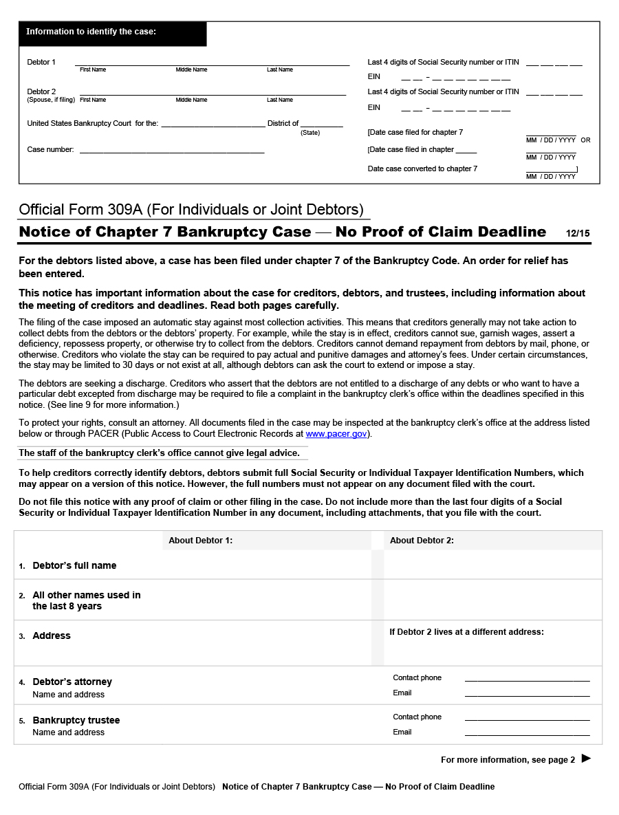 Free Official Form 309A, (For Individuals or Joint Debtors) Notice ...
