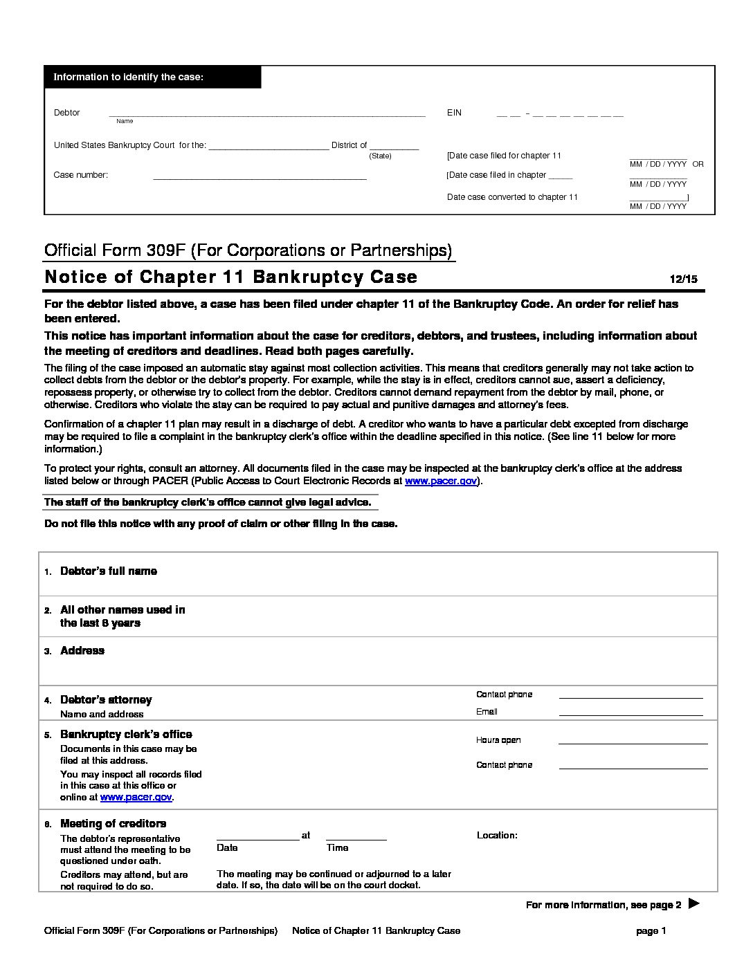 B 309F Notice of Chapter 11 Bankruptcy Case (For Corporations or Partnerships) form preview
