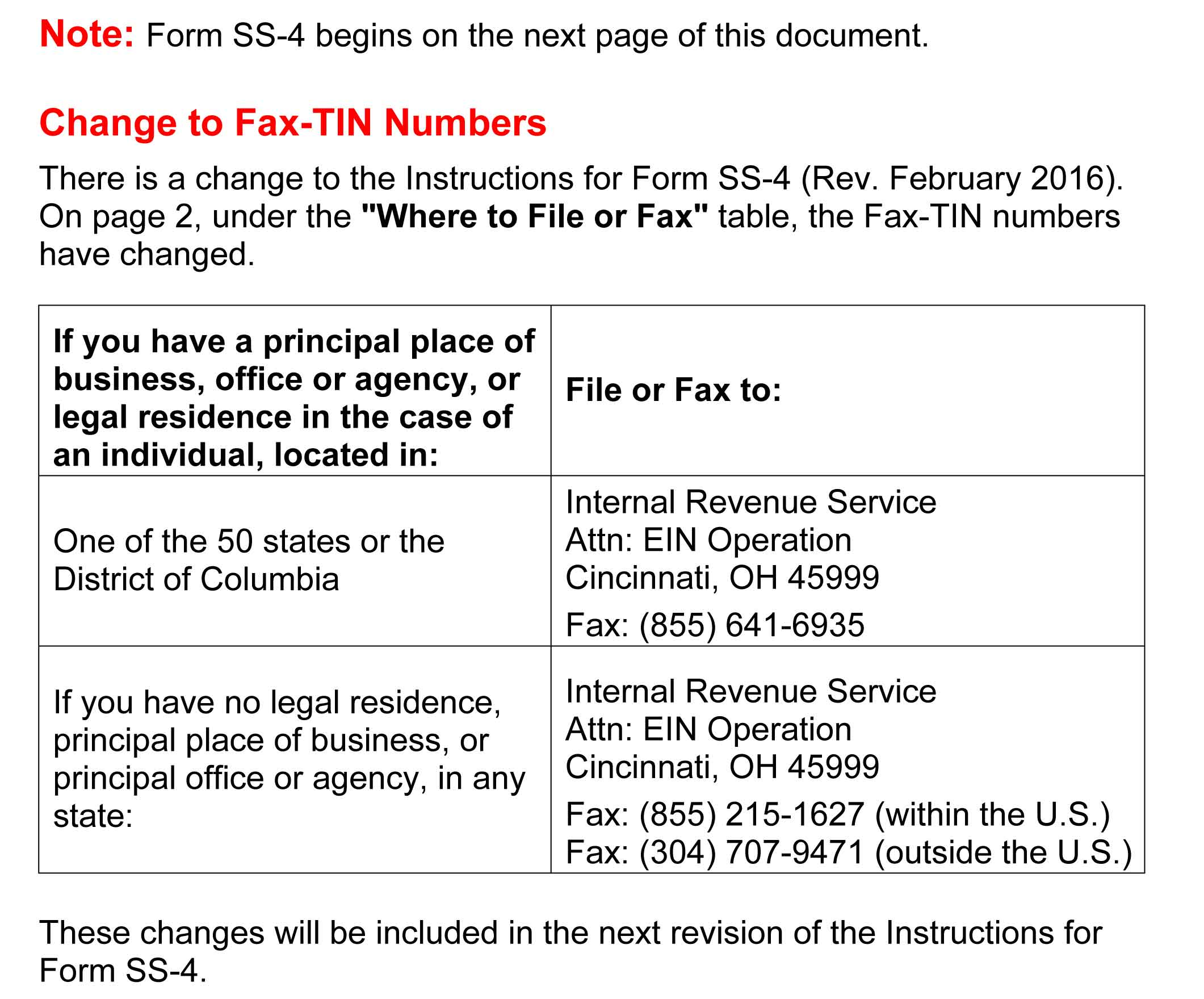 Free Form SS-4 Application for Employer Identification Number (EIN ...