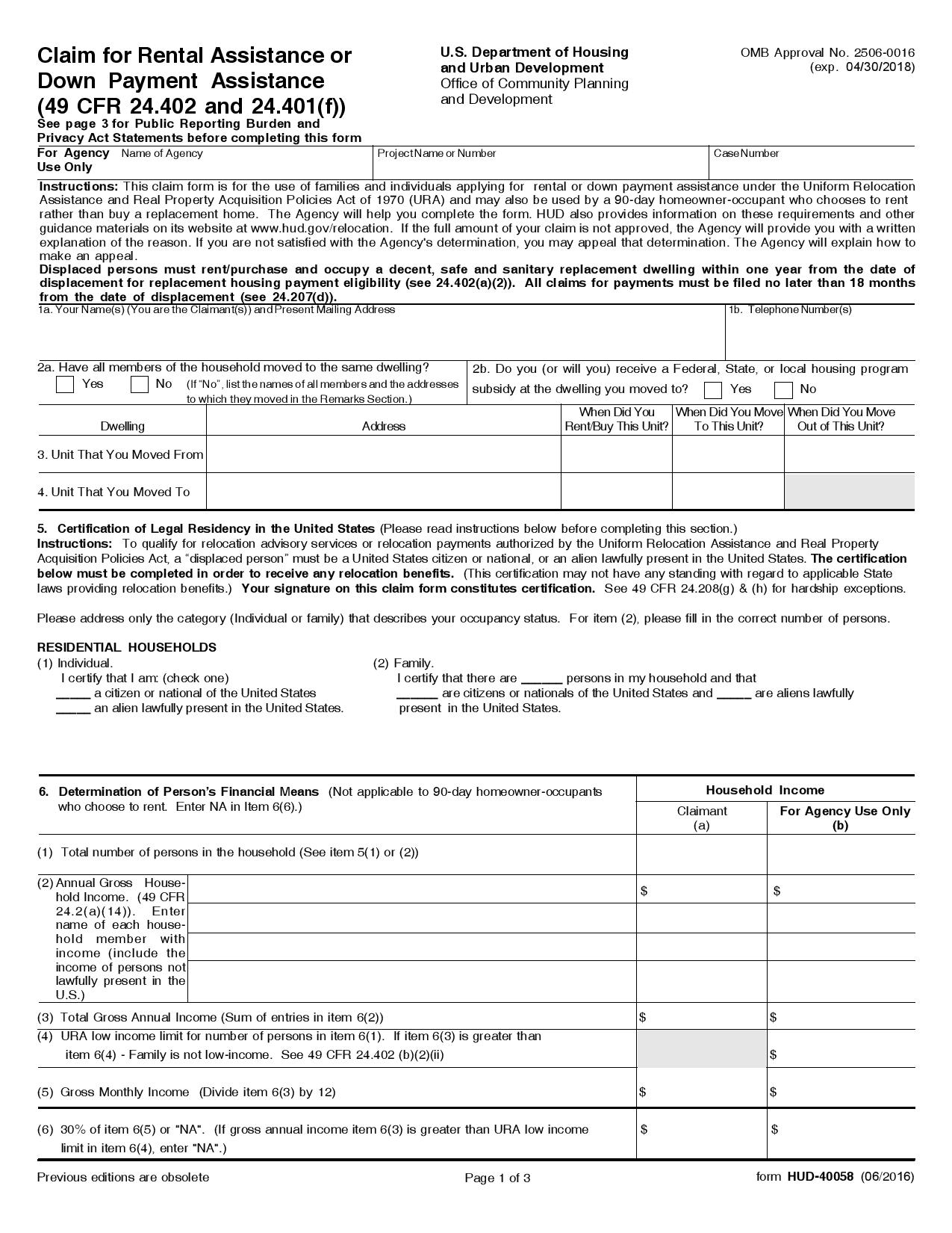 Free HUD40058 Claim for Rental Assistance or Downpayment – Rental Assistance Form