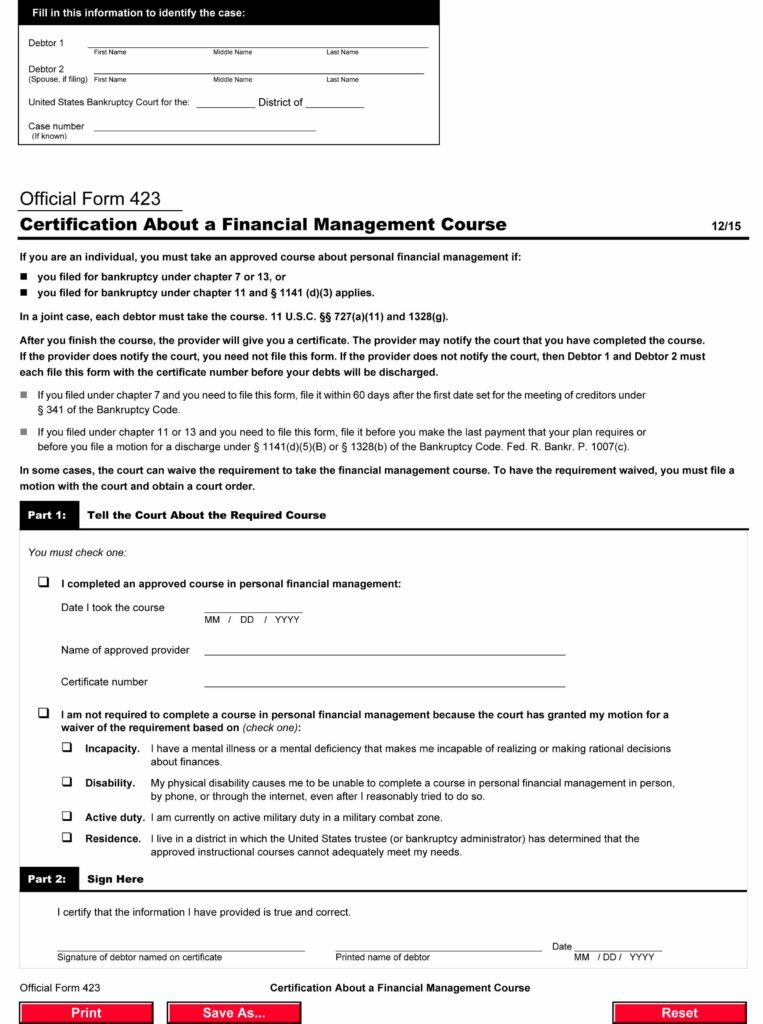Free Official Form 423, Certification About a Financial Management ...