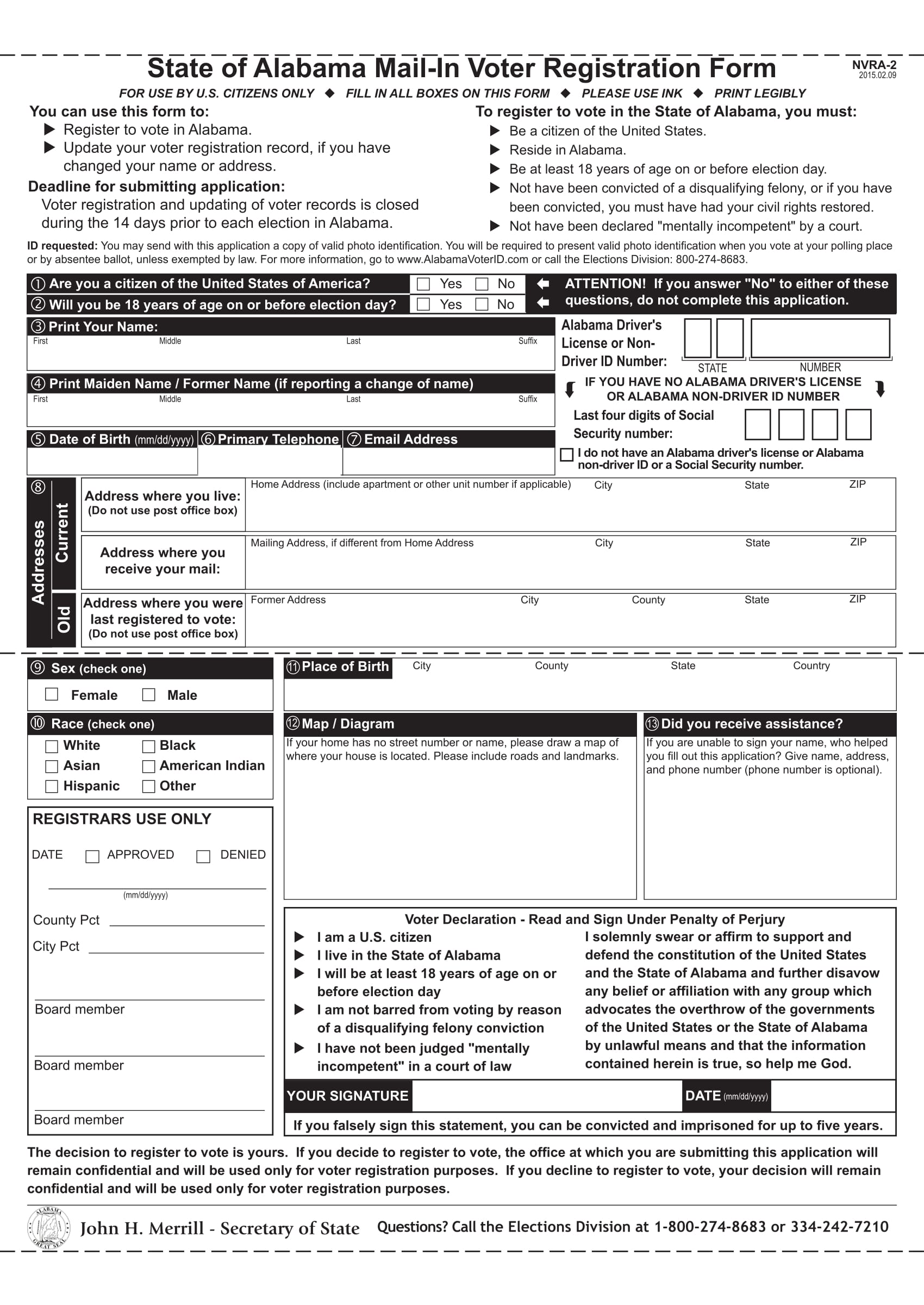 Free State of Alabama Mail-in Voter Registration Form - WikiForm ...