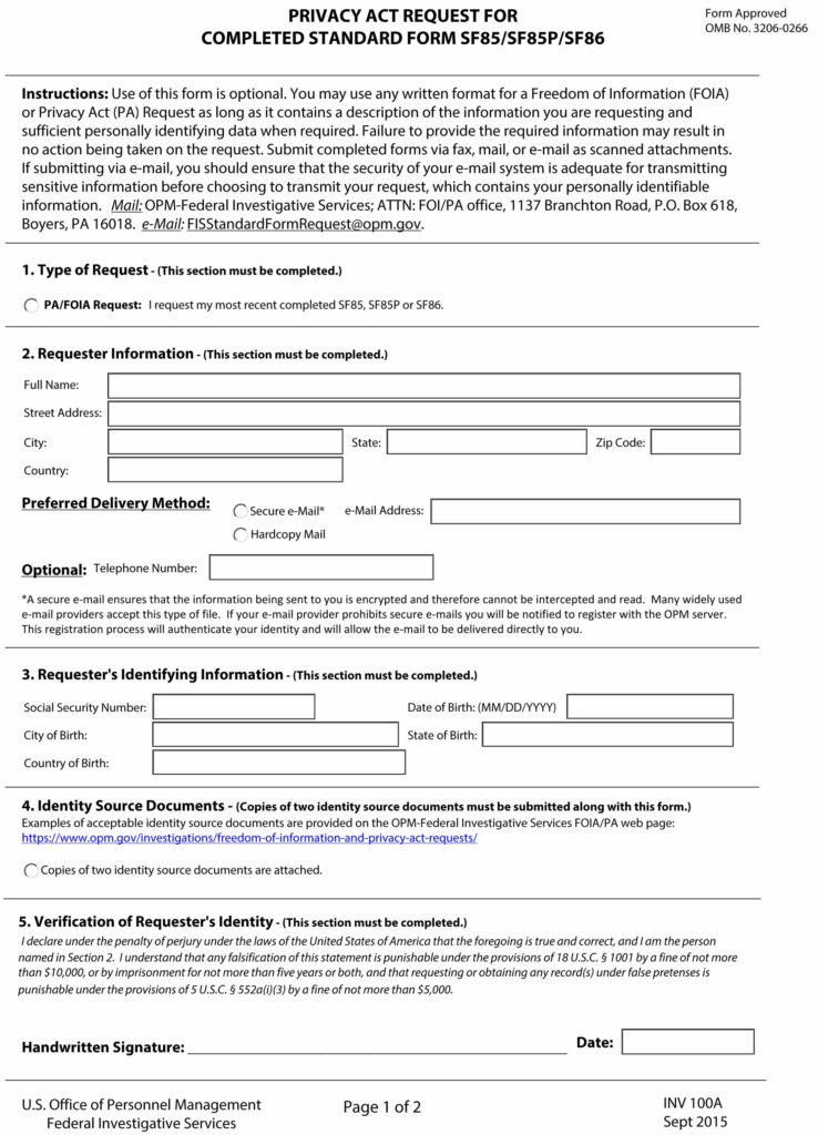 free privacy act request for completed standard form sf85/sf85p/sf86