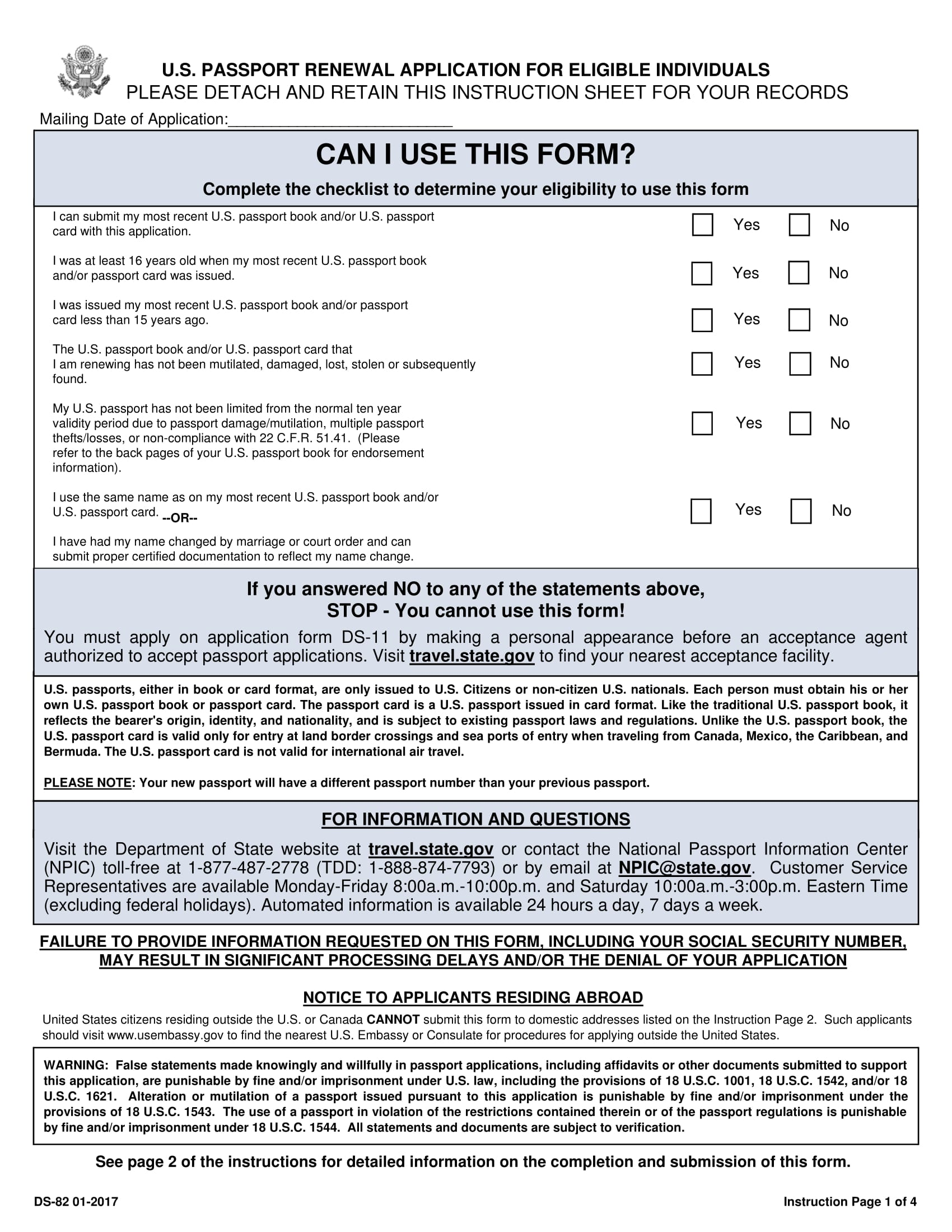 U.S. Passport Renewal Application For Eligible Individuals