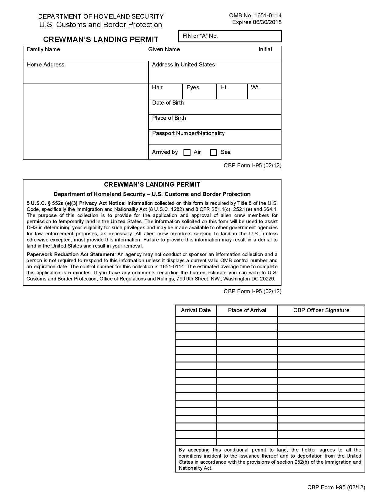 CBP Form 7533 - Fillable Sample to Print and Download in PDF