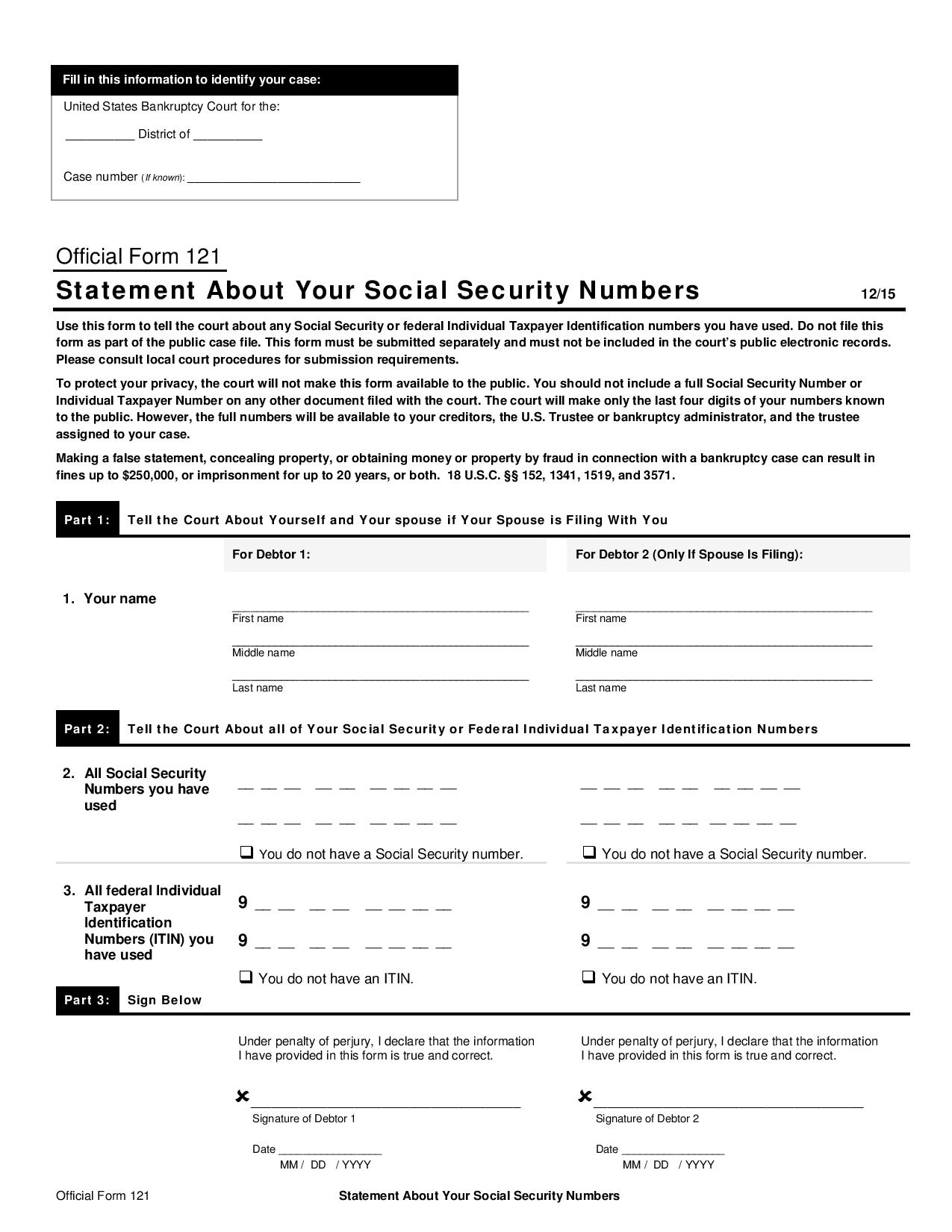 Free official form 121 statement about your social security numbers official form 121 statement about your social security numbers thecheapjerseys Gallery