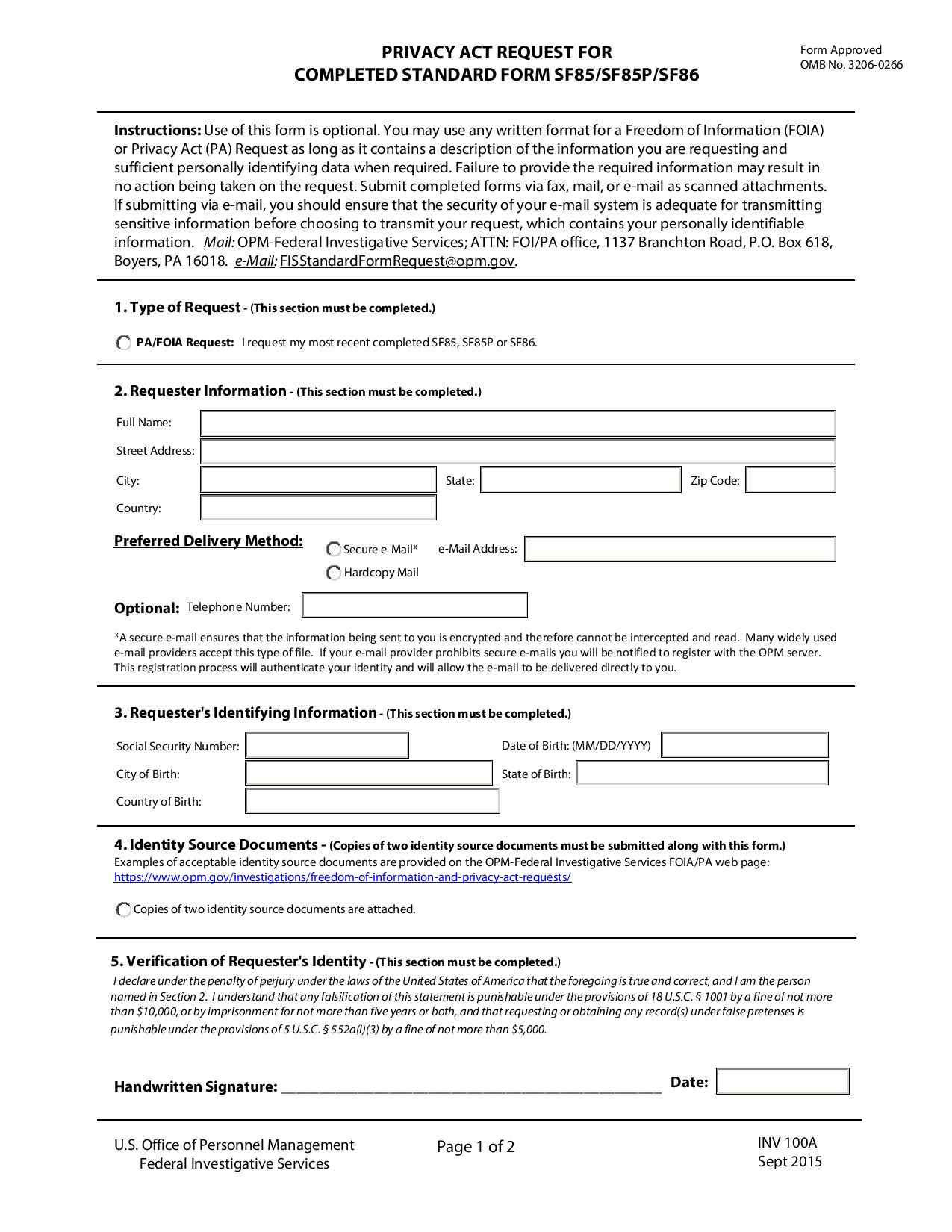 Free INV 100A, Privacy Act Request For Completed Standard Form ...