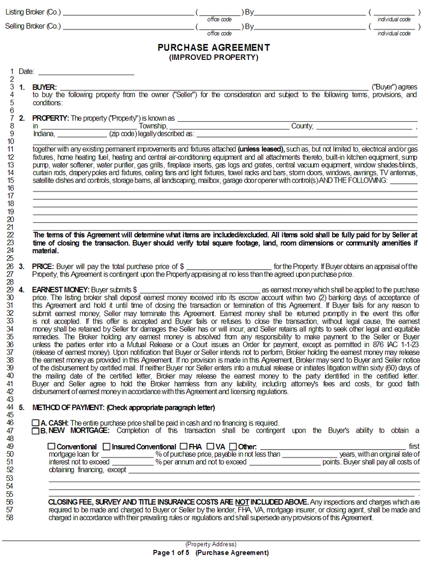 IndianaPurchaseandSaleAgreementForm Oklahoma Divorce Forms Application on petition template, papers uncontested children, fil ent certificate appeal, papers children, waiver form for, decree copy,
