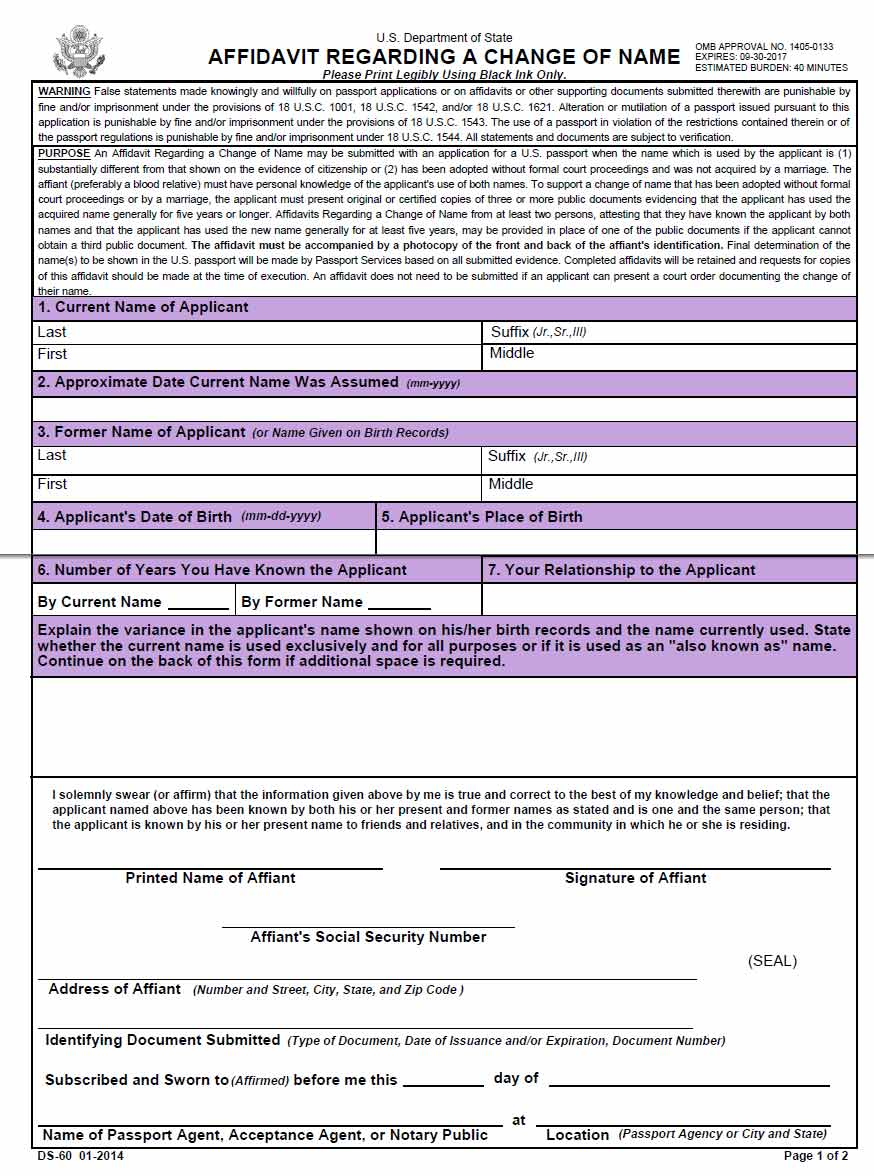 Social Security Name Change Form | Free Affidavit Regarding A Change Of Name Wikiform