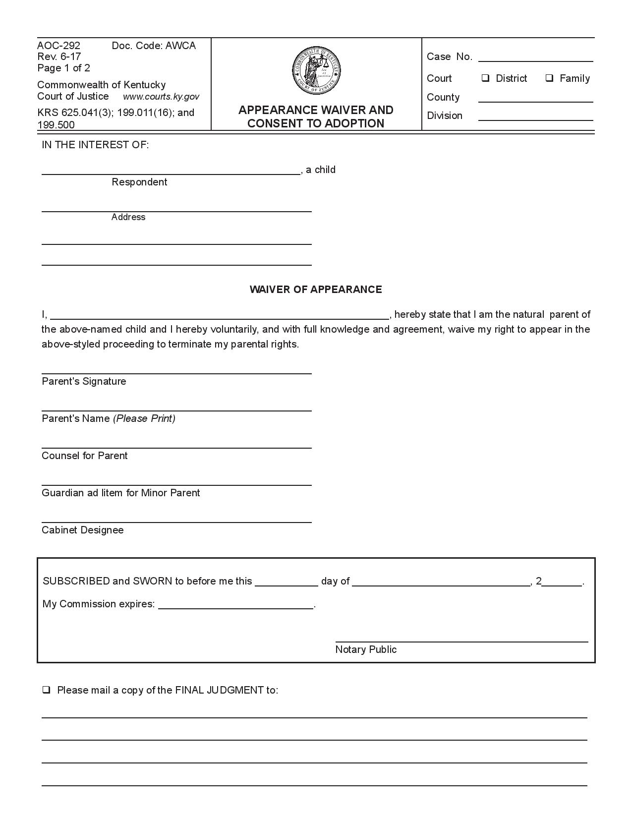 Appearance Waiver And Consent To Adoption Wikiform